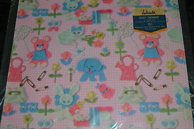 Vtg  Baby Shower Gift Wrap Felt Looking CAT DOG SAFETY PINNED DIAPERS BEAR