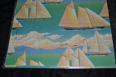 Vtg 80's SAILING SHIPS Gift Wrap OCEAN BOATS U.S. FLAG from Current  Sealed!