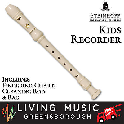NEW Steinhoff Recorder for Kids with Cleaning Rod and Case (White)