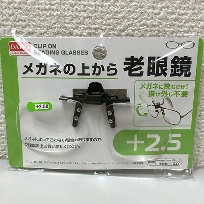 Clip on Flip up Magnifying Reading Glasses +2.50 DAISO JAPAN NEW F/S