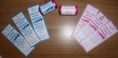 40X Personalised Mini Love Hearts Labels ***baby Shower/christening/ Baptism***