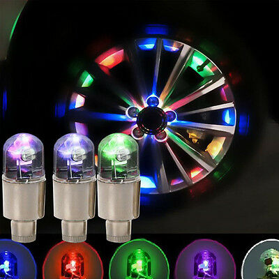 4Pcs Universal COLORFUL LED Wheel Tyre Tire Air Valve Stem Cap Light Lamp Bulb