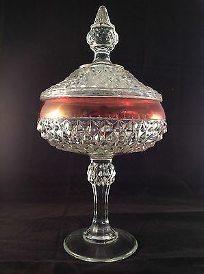 Spectacular VINTAGE LUBIANA Glass Crystal DIAMOND CUT Centrepiece LIDDED COMPOTE