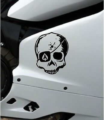 Skull Ace Of Spades Vinyl Decal Sticker Motorbike Tank Car Van Laptop Black