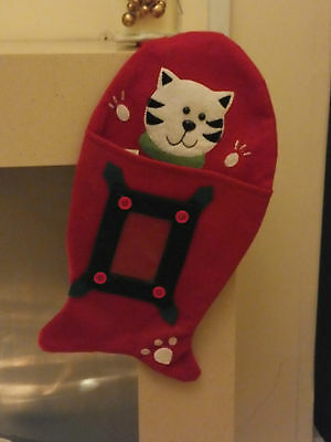 Fish Shaped Christmas Stocking For Your Cat * Clear Pocket For Photo * Cac 08