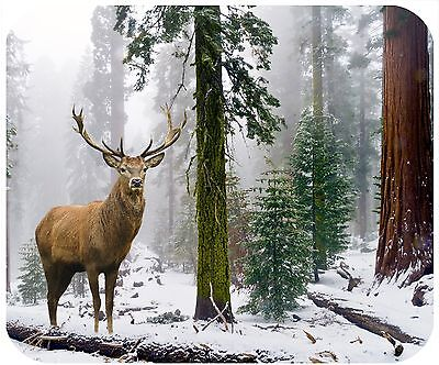 Mouse Pad Personalized Custom Thick Mousepad-Sequoia Trees With Deer Buck