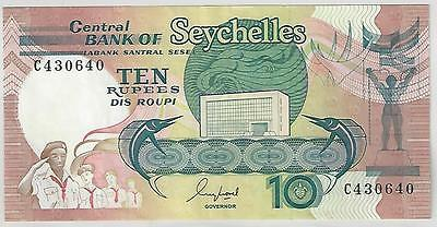 Seychelles 10 Rupees Banknote, 1989, Very Fine Condition