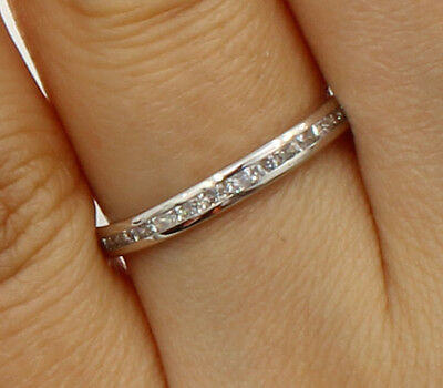 14K White Gold Round Channel Eternity Endless Wedding Anniversary Ring Band