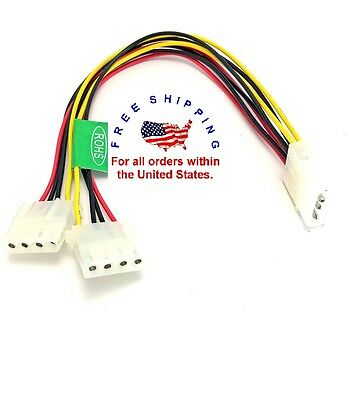 """Computer Molex 6/"""" 4 Pin Power Supply Y Splitter Cable 1 Male to 2 Female Y6W4"""