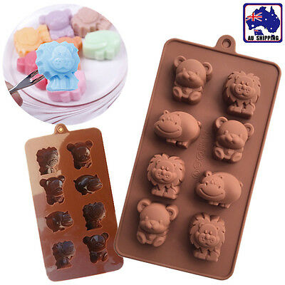 Animals Silicone Mould  Lion Bear Hippo Cow Chocolate Mold 8 Cavities HKIM23808