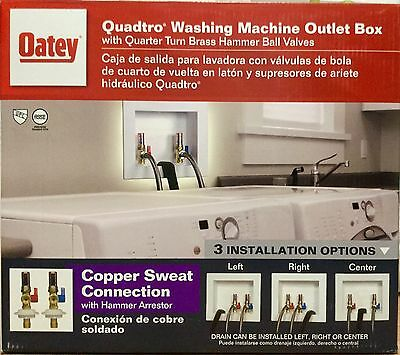 """Oatey Quadtro 2"""" Copper Sweat Washing Machine Outlet Box with Hammers"""