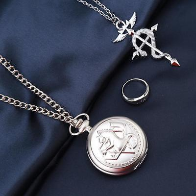 3pc/Set Vintage Fullmetal Alchemist Pocket Watch Ring Necklace Cosplay Gift - SS