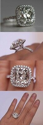 2ct 10k White Gold Jewelry For Women Cushion Halo best Solitaire Wedding Ring*