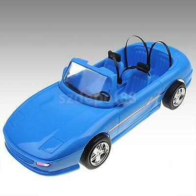 4-seats Blue Convertible Car Cabriolet For Barbie Ken Dolls Metallic Wheels