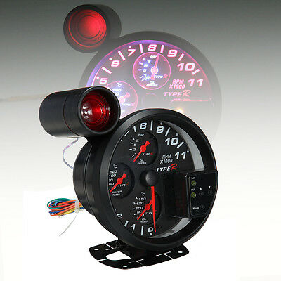 4 in 1 LED Shift Light Tachometer Oil Water Pressure Temperature Gauge w/ Sensor