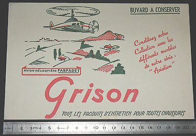 Buvard 1950 Grison Entretien Chaussures Aviation Avion Helicoptere Farfadet