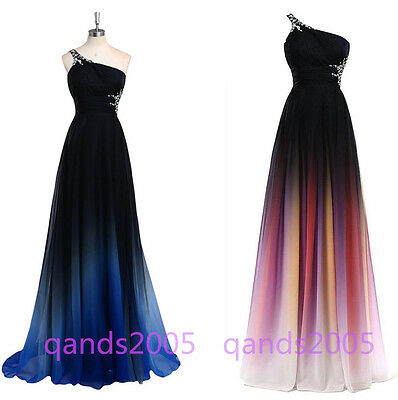Ombre One Shoulder Chiffon Formal Prom Cocktail Party Evening Bridesmaid Dress