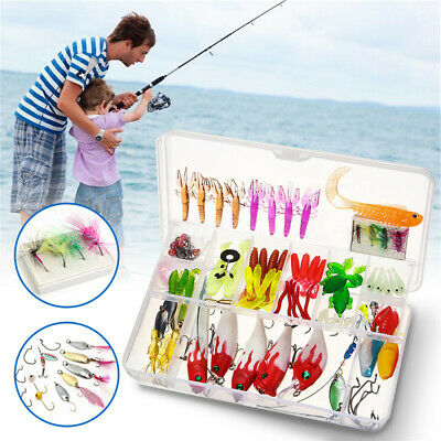 100 Fishing Lures Spinners Plugs Spoons Soft Bait Pike Trout Salmon+Box Set UK