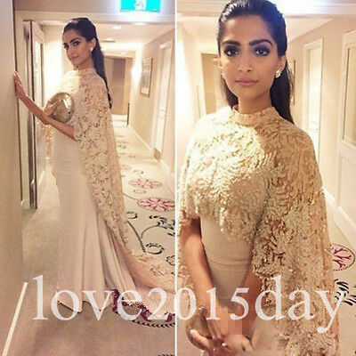 Free Cape Prom Dresses Elegant Evening Club Party Gown Arabic Dubai Lace Custom