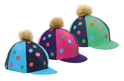 * Shires Spotty Pom Pom Hat Cover - Pink, Blue & Green! *