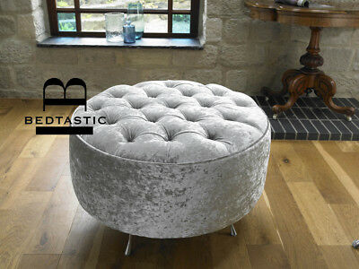 Chesterfield Round Pouffe Stool Velvet Chenille Chrome Legs Buttons Crystals