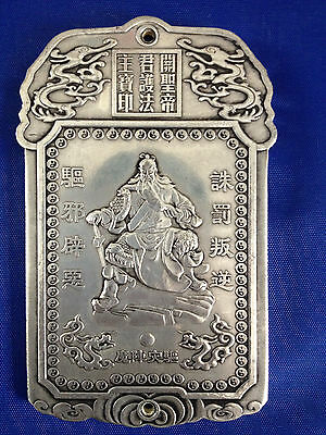 "Old Chinese""Exorcism supporter"" tibet Silver Bullion thanka amulet AS768"