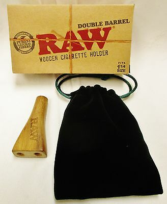 1 New Raw Wooden Double Barrel Holder Fits 1 1/4 Size with Carrying Pouch
