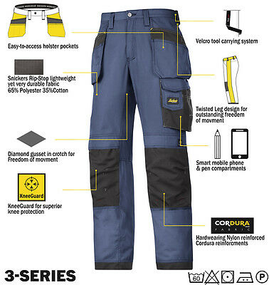 Snickers Rip Stop Cordura Work Trousers  Kneepad & Holster Pockets 3213 Direct