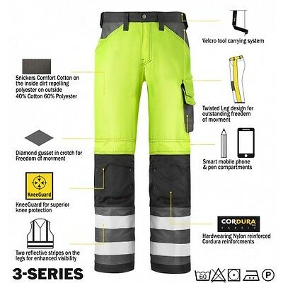 Snickers 3333 High Visibility Mens Work Trousers Snickers Direct All Colours