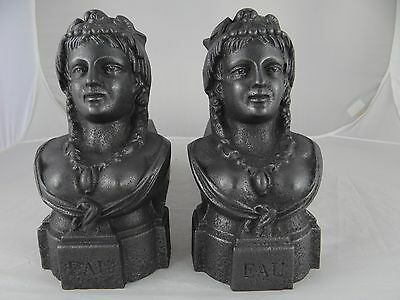 Antique French Cast Iron Fireplace Andirons Firedogs -  Bust Women - WATER