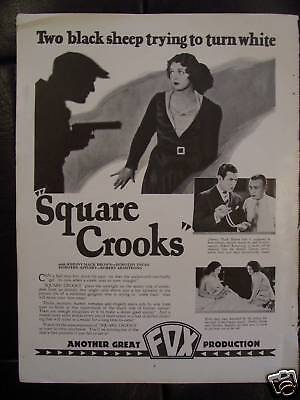 1928 Square Crooks Movie Advertisement Starring Johnny Mack Brown & Dorothy Dwan