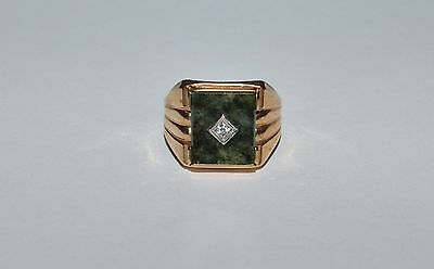 Vintage 10 K Gold Filled And Connemara Stone Men's Ring