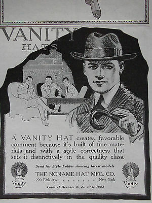 1919 Vanity Hats The Noname Hat Manufacture Co. Advertisement