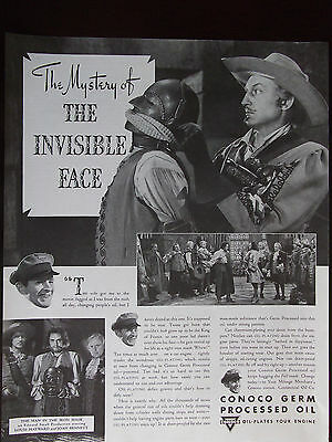 1939 Conoco Germ Processed Oil Louis Hayward The Invisible Face Advertisement