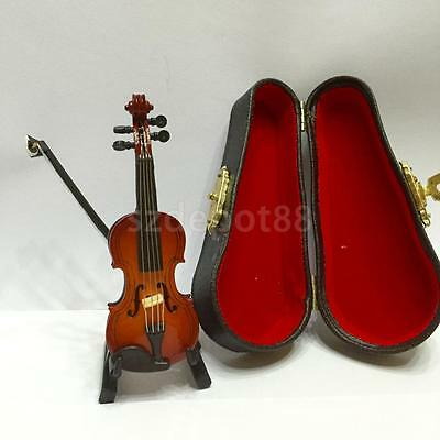 Dollhouse Miniature Musical Instrument Violin with Bow Stand Case 12th Scale