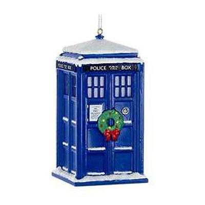 """Doctor WHO Licensed 4.5"""" WREATH  & Snow TARDIS Holiday ORNAMENT Christmas Adler"""