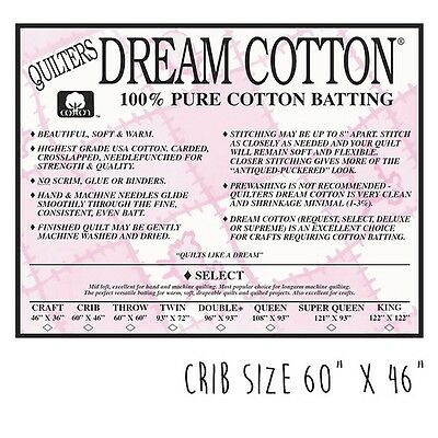 Dream Cotton Quilt Wadding / Batting - 100% Natural Cotton - Select Crib Size