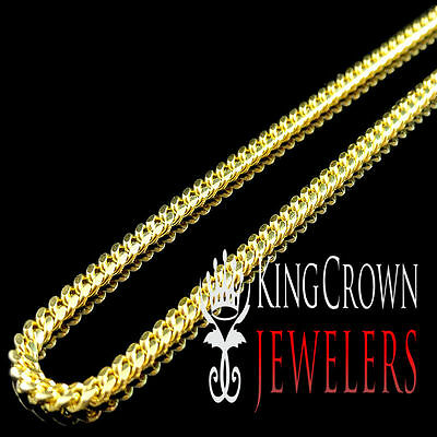 Yellow Gold Over Real Sterling Silver 3mm Solid Miami Cuban Link Chain Necklace