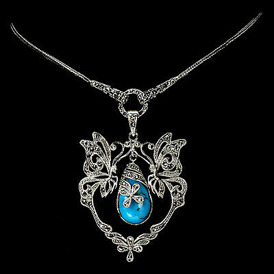 Sterling Silver 925 Natural Turquoise & Marcasite Butterfly Necklace 24 Inch