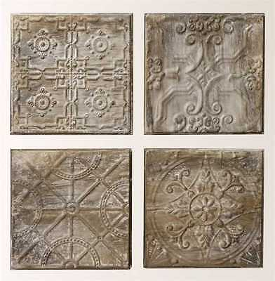 Ceiling Tile Embossed Antique Finish Tin Home Decor Set of 4