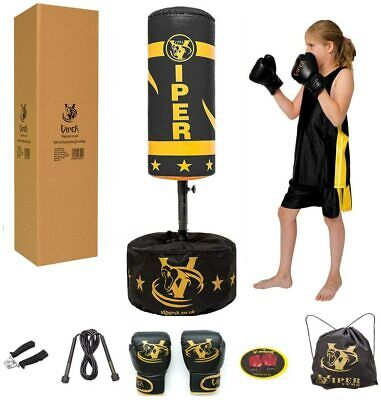 Kids Free Standing Boxing Punch Bag Children's Training Junior Gloves Set Viper