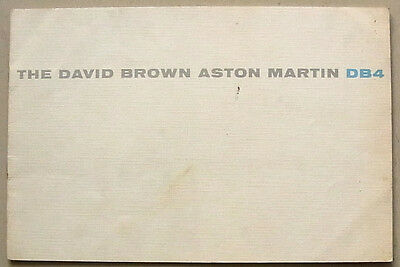 ASTON MARTIN DB4 Sports Car Sales Brochure Oct 1958-59