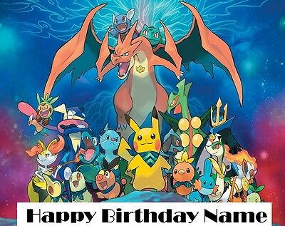 Pokemon Personalised A4 Size 20x28cm Premium Icing Cake Topper Edible Image