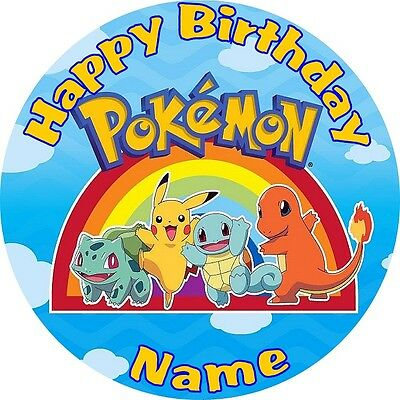 "Pokemon Personalised 8"" Premium Icing Cake Topper Edible Image Go Pikachu"