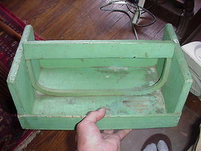 Antique  Primitive Wood Tool Tote Caddy Tray Carrier Holder Rustic Garden