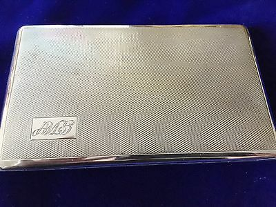 Solid Silver Large cigarette Case - Charles Green & CO - 1953