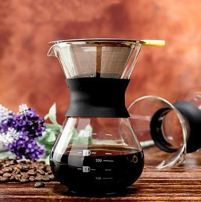 Diguo Pour Over Coffee Maker with Permanent Filter Drip Pot (300ml/11oz/1-3Cups)
