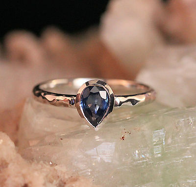 0.70Ct 7x5  Blue Sapphire September Stone Ring Hammer Finished in 14k White Gold