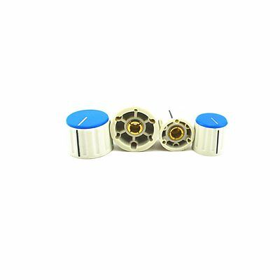 5pcs Plastic Brass Shaft Insert Dia 6mm Potentiometer Control Knobs blue