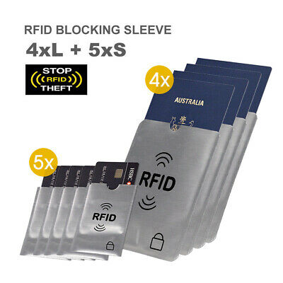 RFID Blocking Sleeve Secure Credit Card ID Protector Anti Scan Safety 4xL + 5xS